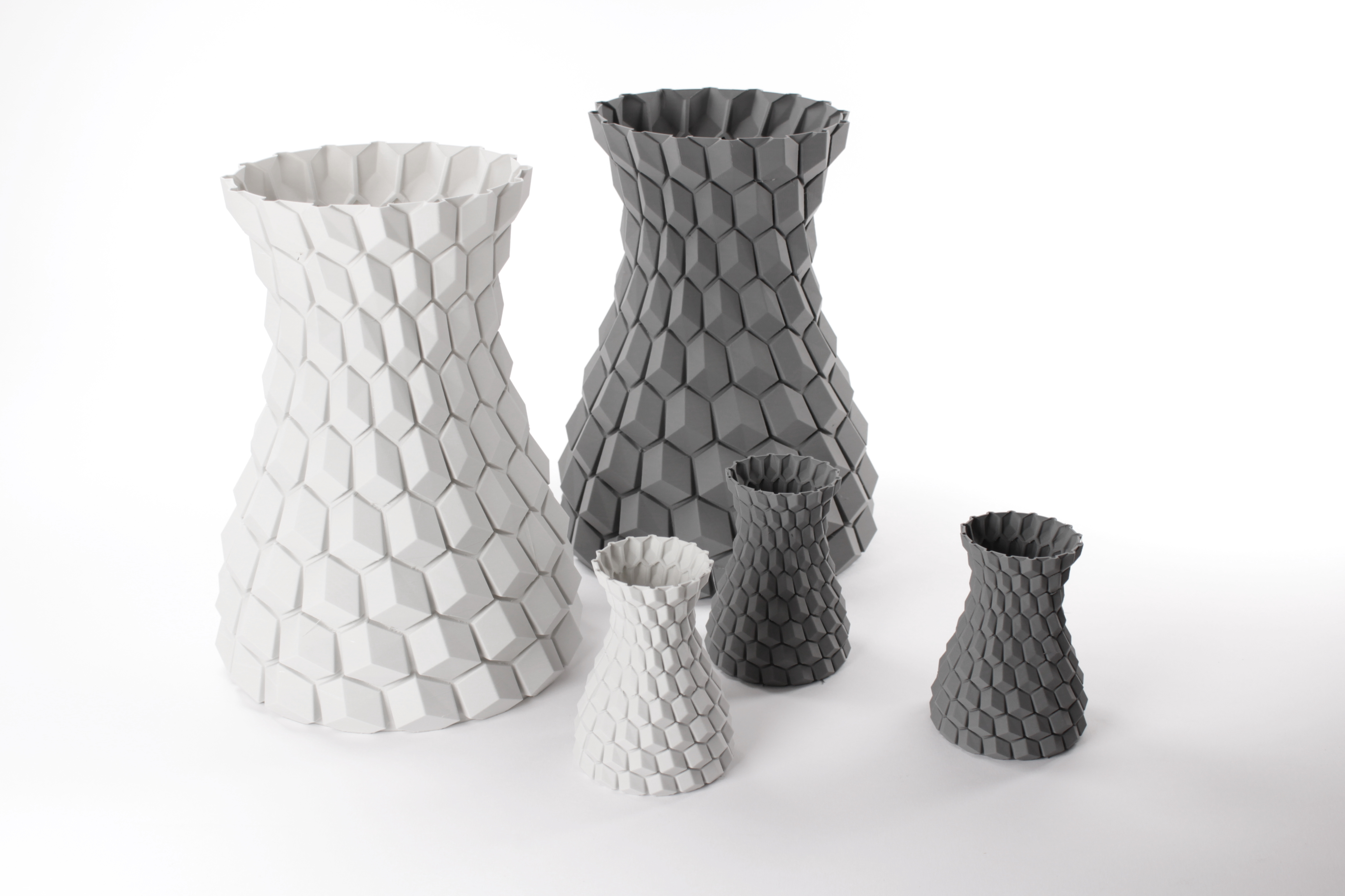 StoneFil - Honeycomb vases, design by Aleksey Grishchenko